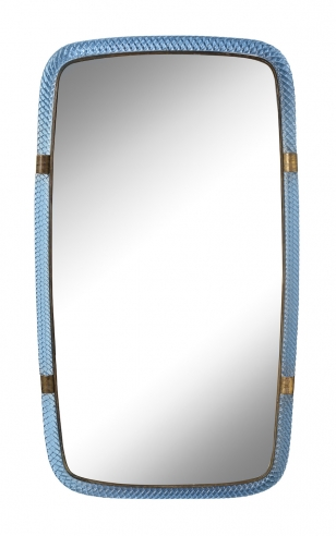 Treccia Glass Mirror in Blue by Carlo Scarpa for Venini Model 20