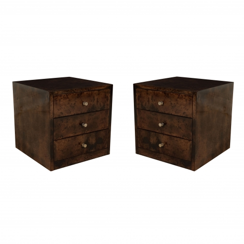 Pair of Brown Dyed Goatskin Small Tables w/ Drawers by Aldo Tura