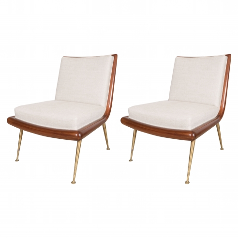 Pair of  Slipper Chairs With Brass Legs by T.H. Robsjohn-Gibbings for Widdicomb