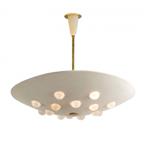 Cream enameled metal ceiling fixture with textured glass lenses by Stilnovo