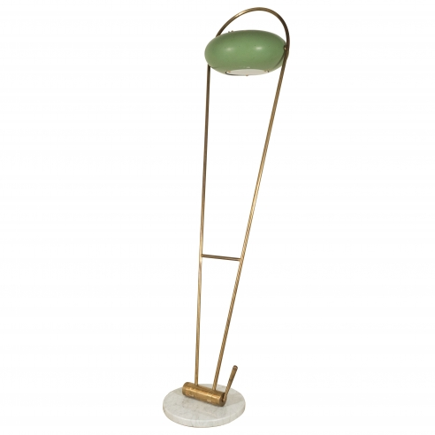Brass floor lamp with green tole shade and marble base