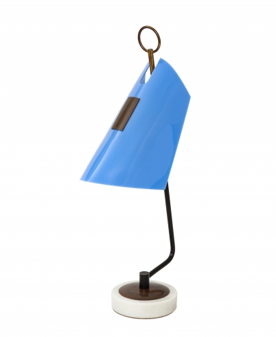 Gino Sarfatti for Stilnovo Lamp with Blue Shade