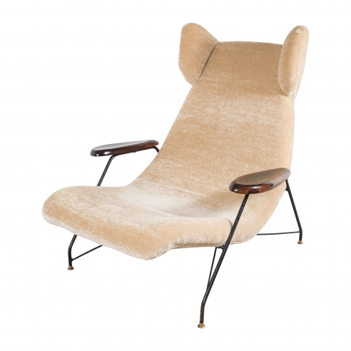 Martin Eisler & Carlo Hauner Chair with Metal Base and Palisander Armrests