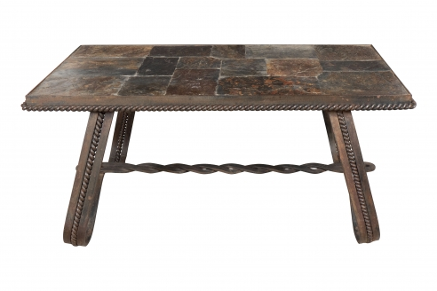Wrought Iron and Tiled Stone Coffee Table