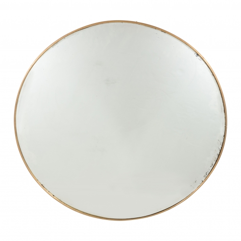 Italian Modernist Brass Framed Round Mirror