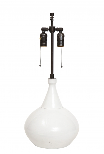 White high gloss lamp by Roger Collet, Vallauris