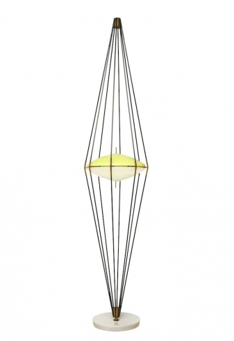 RARE TALL STANDING LAMP 'SILURO' BY ANGELO LELII FOR ARREDOLUCE
