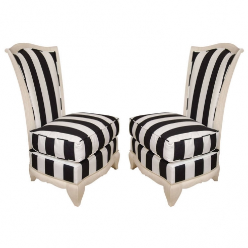 Pair of French Slipper Chairs with Cerused Frame in Marimekko Fabric