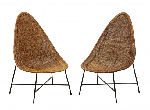 Pair of rattan chairs by Kerstin Horlin-Holmquist