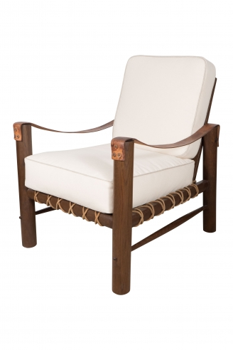 African Inspired Chair with Patinated Oak Frame and Leather Strap Arms
