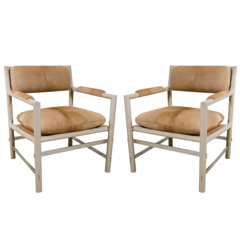 Pair of Edward Wormley for Dunbar Chairs in Cowhide