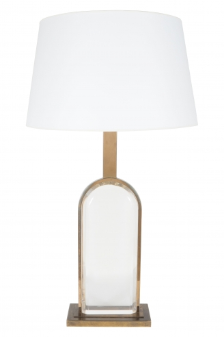 French Brass and Plexiglass Table Lamp