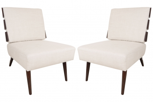 Pair of Slat Back Lounge Chairs