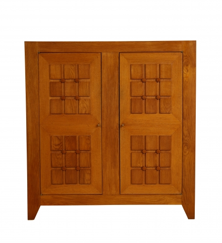Large Sculpted Front Cabinet by Charles Dudouyt