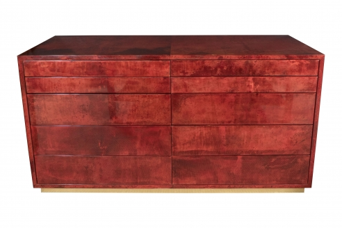 Aldo Tura Red Parchment Commode with Ten Drawers