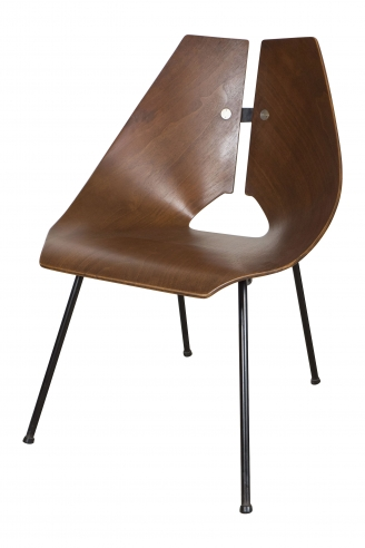 Molded Walnut Side Chair by Ray Komai