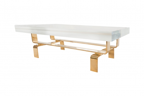 Limited Edition Lucite and Polished Bronze Custom Designed Cocktail Table