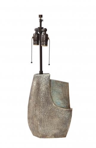 Textured ceramic lamp of organic forms