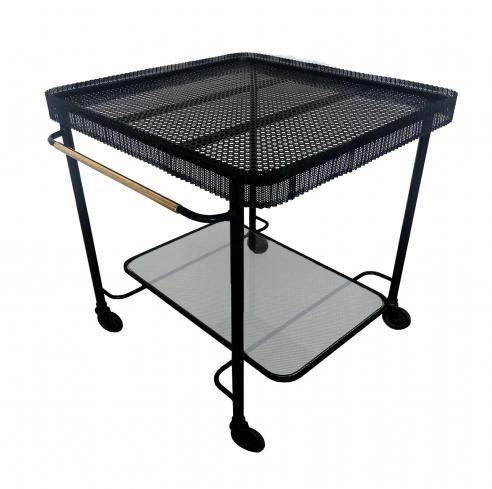 Enameled metal serving table by Mathieu Matégot