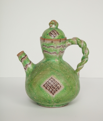 Green Ceramic Teapot by Guido Gambone