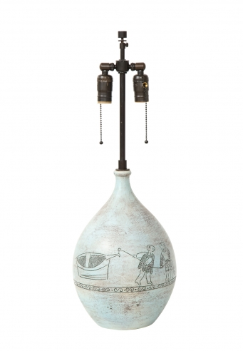 Blin lamp incised with two men and a boat