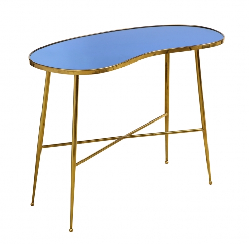 Blue Mirror Console Table Attributed to Fontana Arte