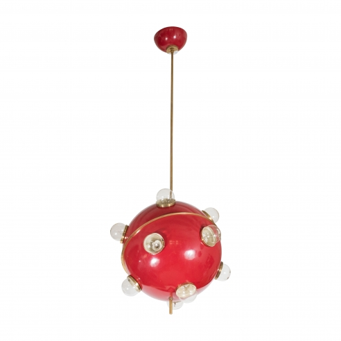 Red Sputnik Suspension Fixture by Oscar Torlasco
