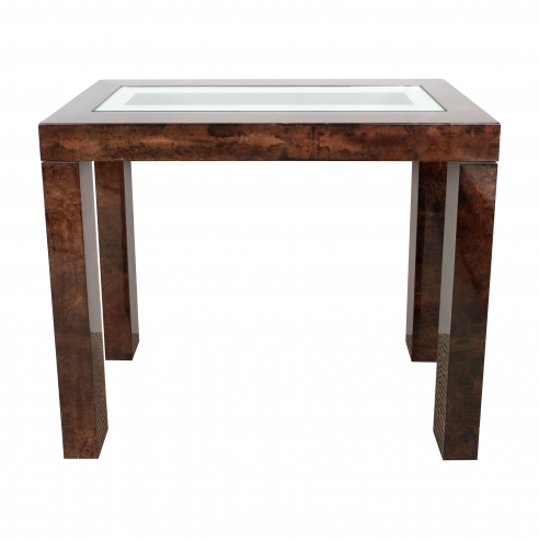 Tura Cognac Parchment Console with Inlaid Mirror/Glass