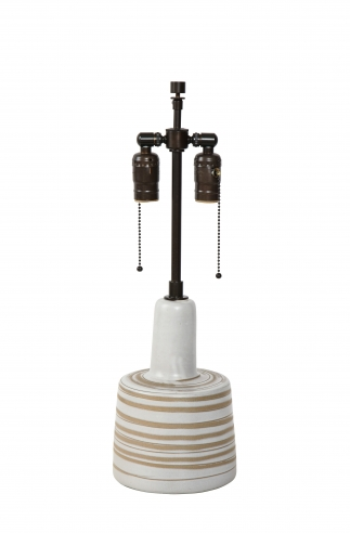 Small taupe striped lamp by Martz