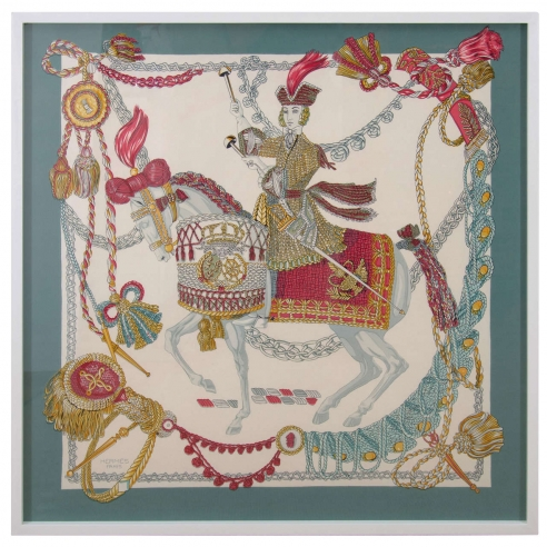 Hermès Silk Scarf, Festooned Horse and Rider