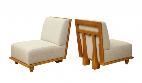 Slipper Chair with Elaborate Detailed Back by Appel Modern