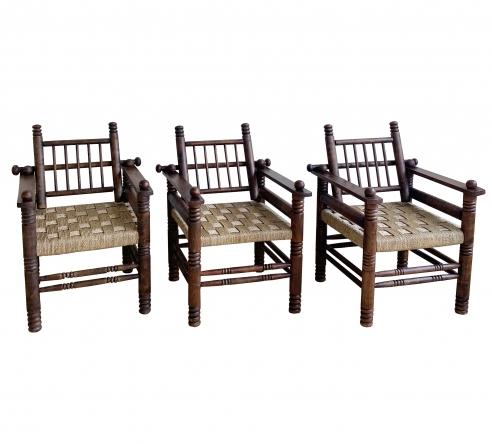 THREE CHARLES DUDOUYT RUSH SEAT ARM CHAIRS