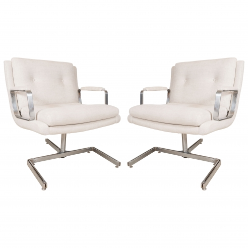 Pair of Important Raphael Chairs with Metal Base in Belgian Linen