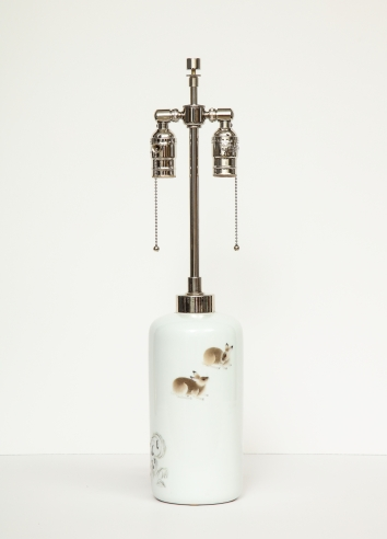 White porcelain lamp with rabbit motif