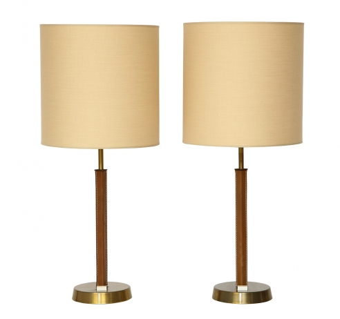 Pair of Leather and Brass Table Lamps by Philips