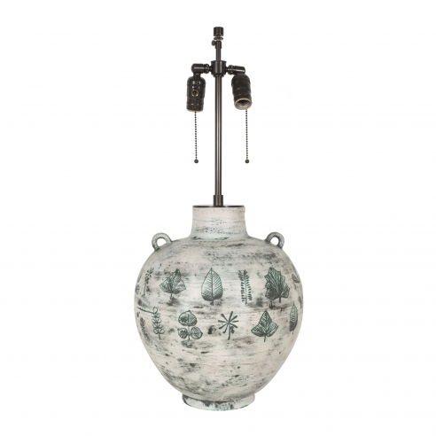 Large white and green ceramic lamp with leaf design by Jacques Blin