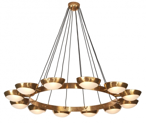 Large Metal Stilnovo Circular Suspension Chandelier with Twelve Half Globe Glass Shades