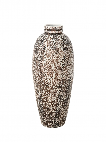 Elongated Primavera vase in brown & white stipple glaze
