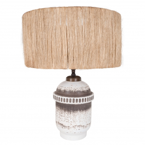 Keramos Ceramic Lamp, Straw Shade