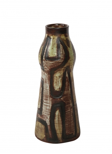 Tall Accolay vase with primitive design