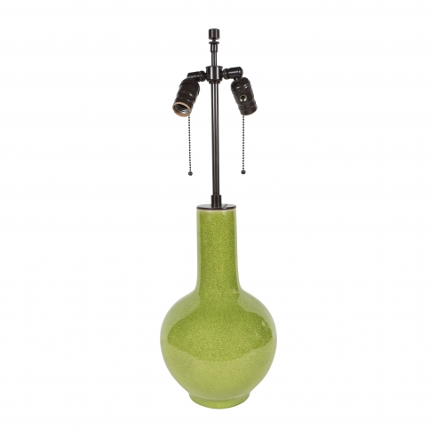 Chinese Chartreuse Craquelure Lamp