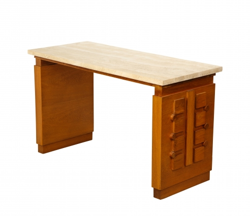 Sculpted Oak Console/Desk with Stone Top by Charles Dudouyt