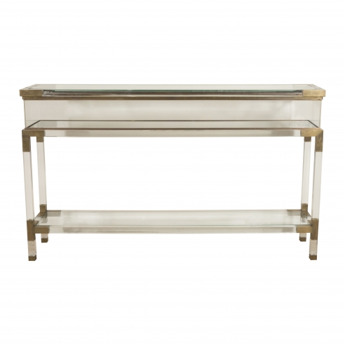 Lucite and Brass Console