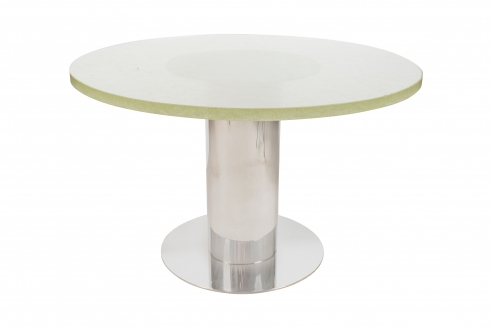 Low Circular Glass and Chrome Side Table