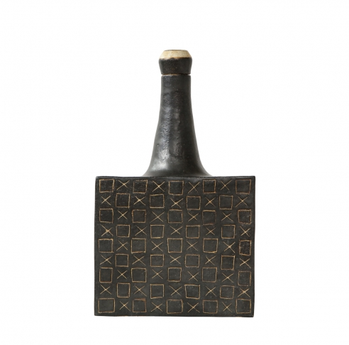 Square ceramic vessel with stopper by Bruno Gambone