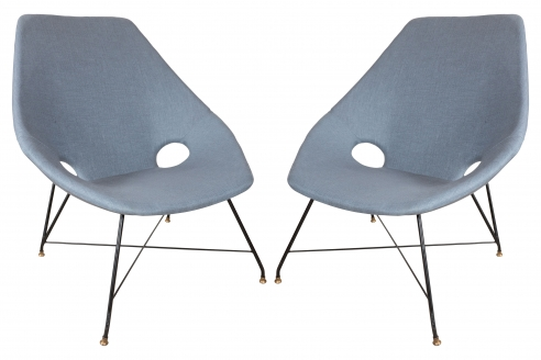 Pair of Blue Linen Chairs by Augusto Bozzi for Fratelli Saporiti