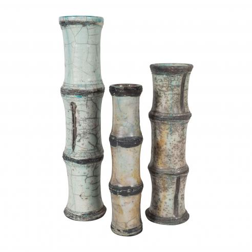 Three Raku Ceramic Vases with Bamboo Pattern