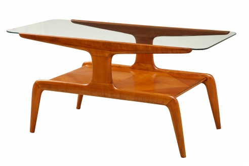 Low Table in Walnut with Glass Top by Gio Ponti
