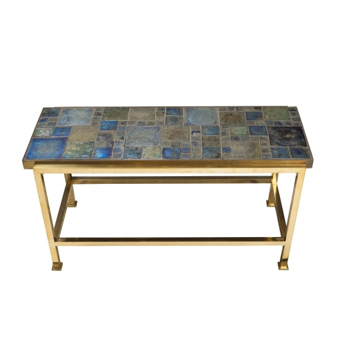 Petite table with Tiffany glass mosaic top by Ed Wormley for Dunbar