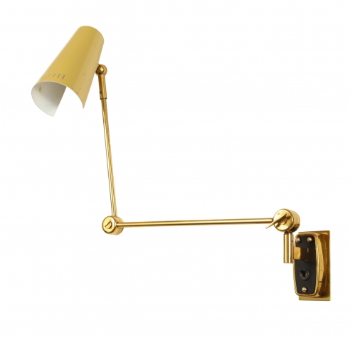 Single Yellow Tole Sconce by Stilnovo